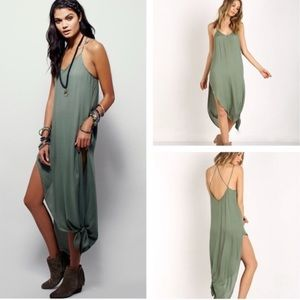 Free People Knotted Up Tie Maxi Slip Dress green